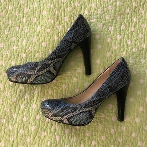 Franco Sarto Faux Blue Snake Skin Heel